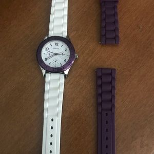 Relic purple and white rubber watch
